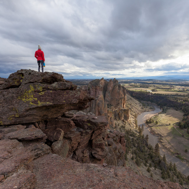 """""""On Top of the World at Smith Rock"""" stock image"""