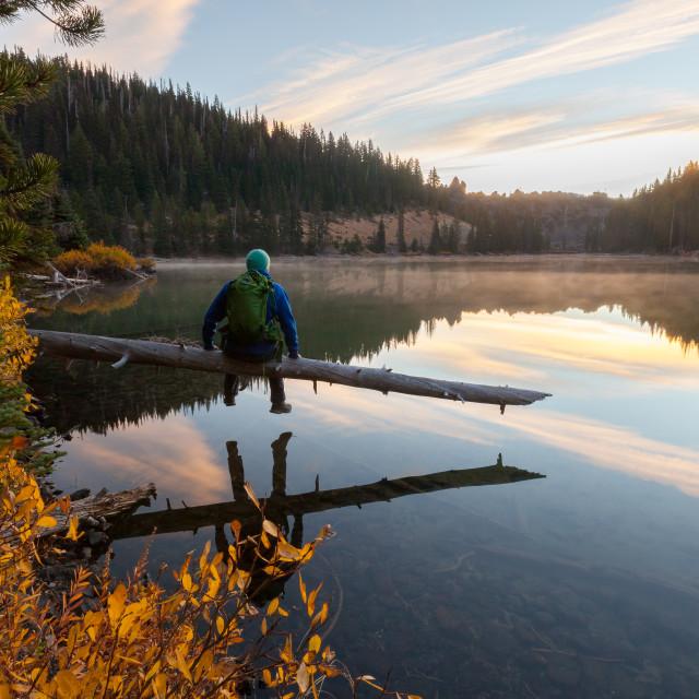 """""""Sunrise Lake Gazing"""" stock image"""
