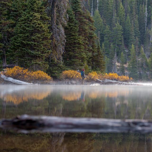 """""""Misty Lake Sunrise"""" stock image"""
