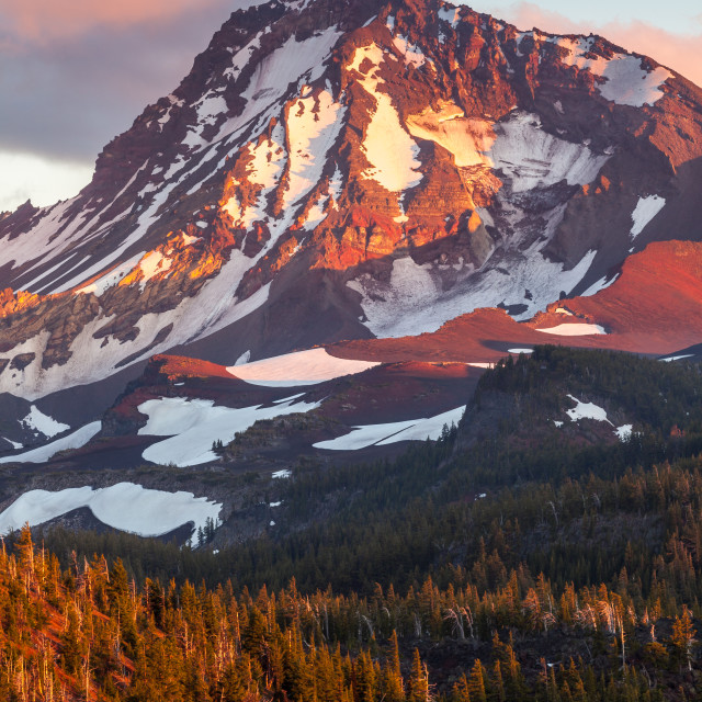 """North Sister Mountain Sunset"" stock image"