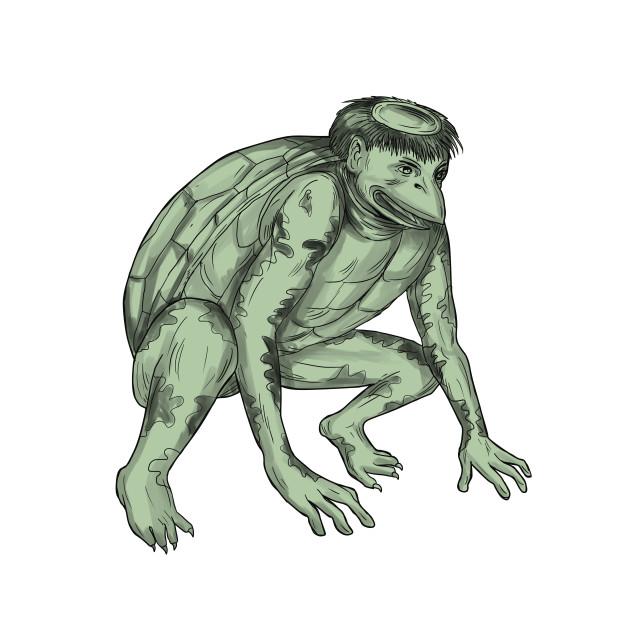 """Kappa Monster Crouching Tattoo"" stock image"