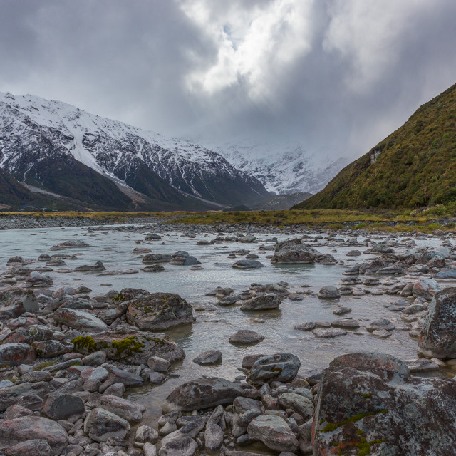 """River flats at Mt Cook National Park"" stock image"