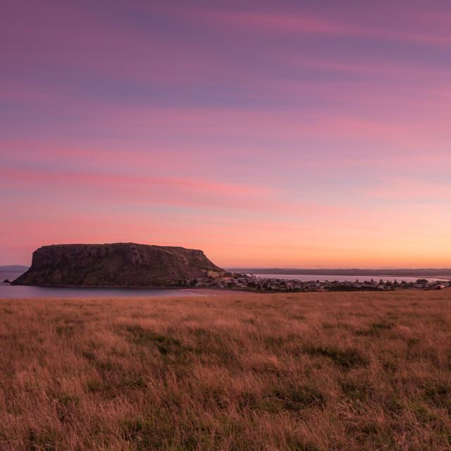 """""""Pink sunset at Stanley, Tasmania"""" stock image"""
