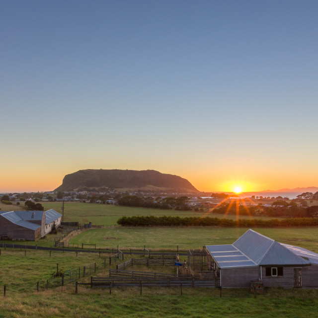 """Sunrise at Stanley, Tasmania"" stock image"