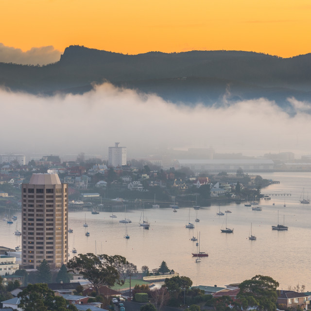 """Foggy sunrise Hobart, Tasmania"" stock image"