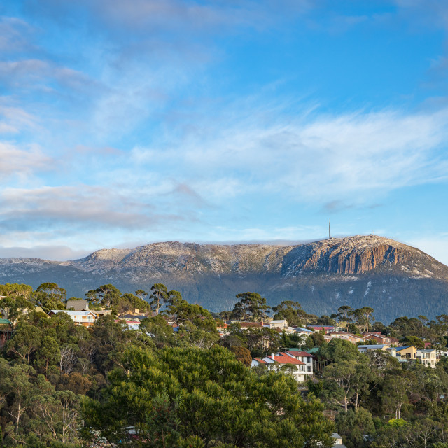 """Snow dusted Mt Wellington, Hobart"" stock image"