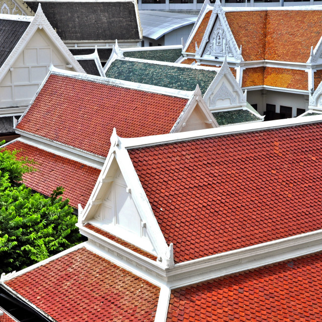 """""""Tile roofs of Thai temple"""" stock image"""