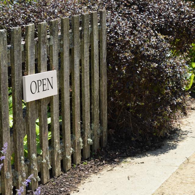 """""""Open sign on garden gate."""" stock image"""