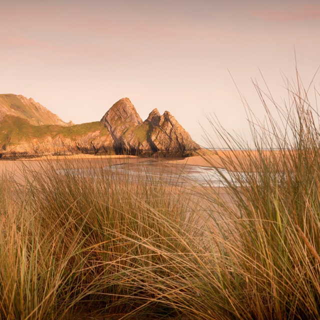 """Three Cliffs Bay, Gower"" stock image"