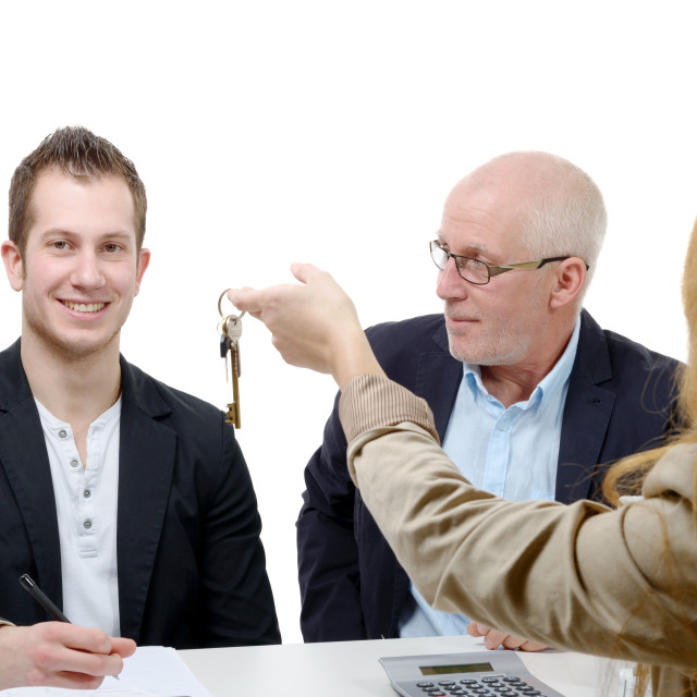 """""""father buy an apartment for his son"""" stock image"""