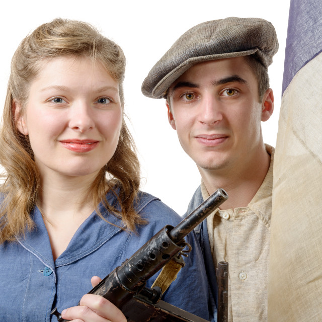 """""""young couple of french resistant to the liberation in 1944"""" stock image"""