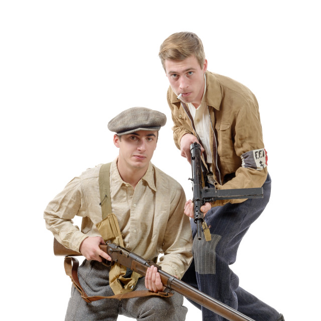 """""""two young resistant to the liberation in 1944"""" stock image"""