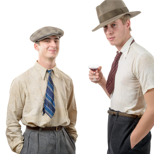 """""""two young men with clothes and cap in 30s style."""" stock image"""