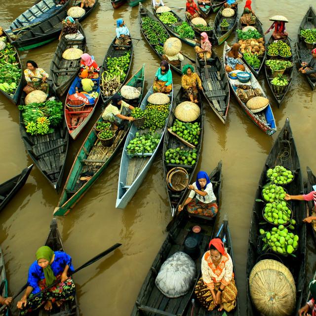 """Lok Baintan Floating Market"" stock image"