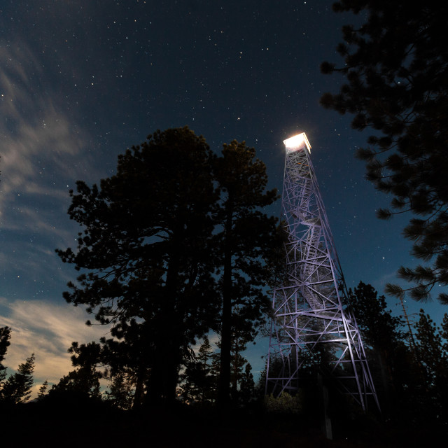 """Fire Tower Among the Stars"" stock image"