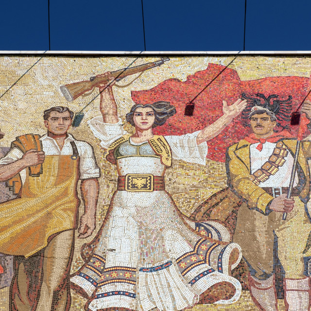 """Communist era mosaic in the centre of Tirana, Albania"" stock image"