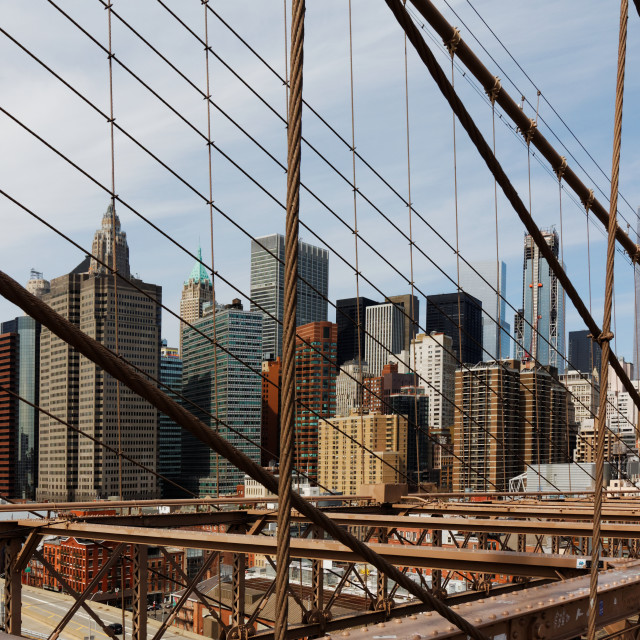 """Lower Manhattan viewed from Brooklyn Bridge, New York, USA"" stock image"