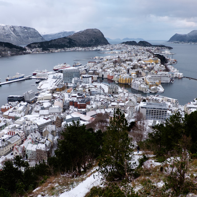 """Ålesund, Norway in winter"" stock image"