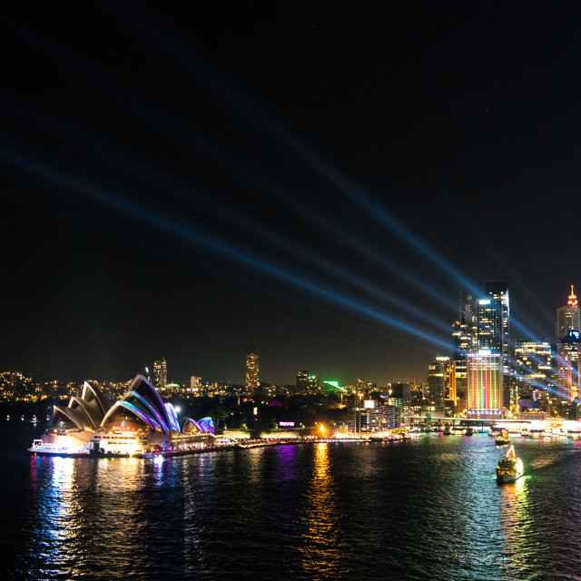 """Vivid Sydney Harbour Bridge"" stock image"