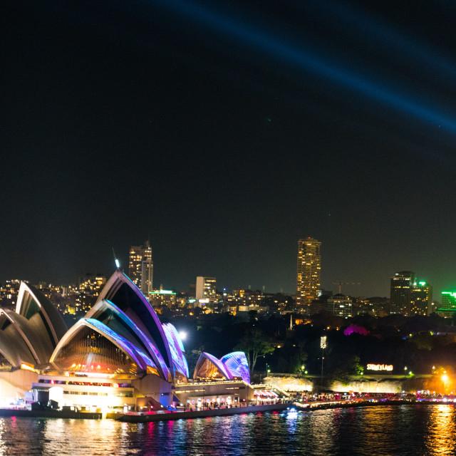 """""""Sydney Opera House Lasers"""" stock image"""