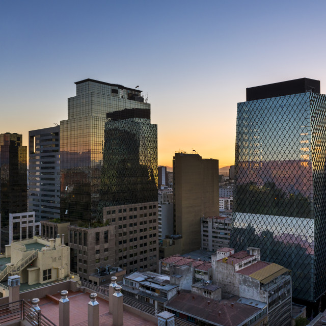 """""""Modern buildings in the downtown of the city of Santiago de Chile at sunset, in Chile, South America"""" stock image"""