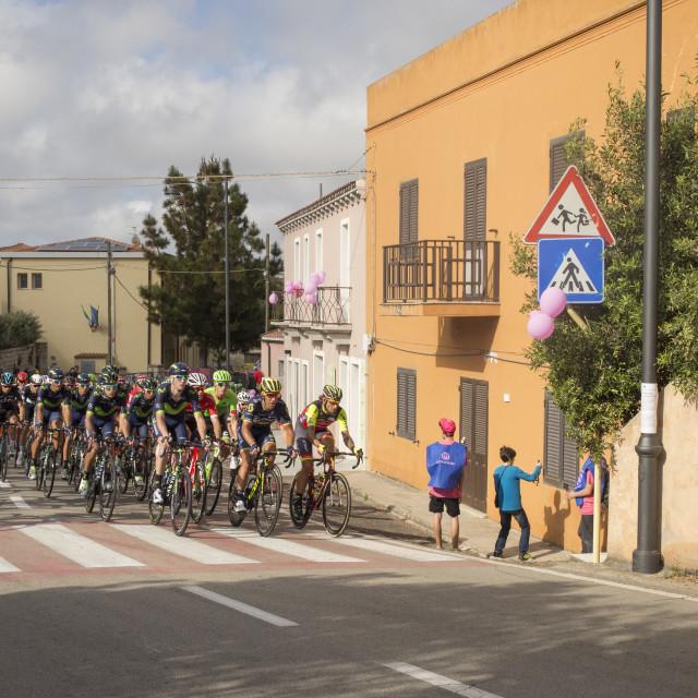 """Giro d'Italia passes in San Pataleo, Italy"" stock image"