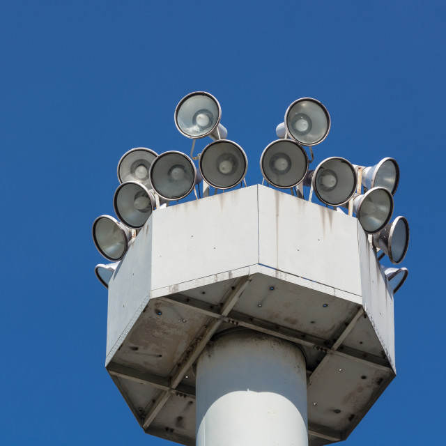 """""""Several Megaphone on a high mast"""" stock image"""