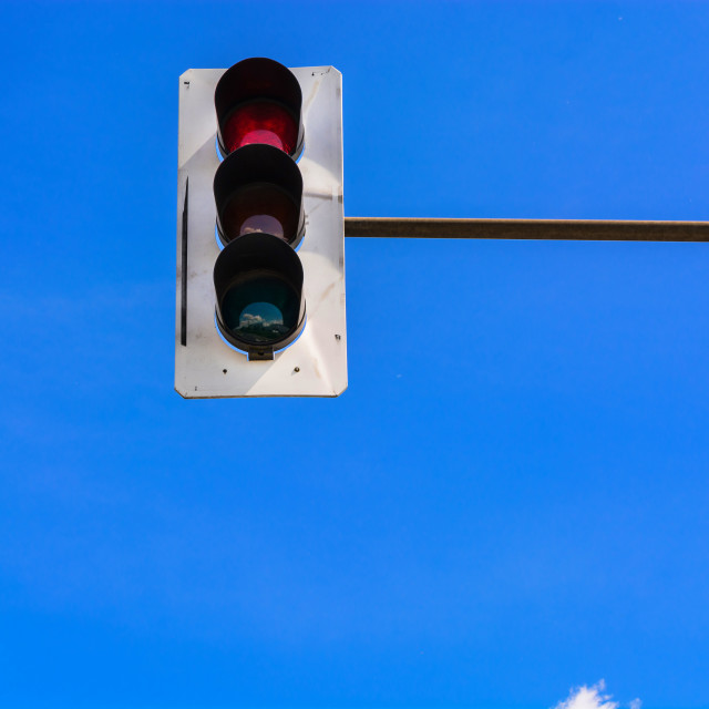 """Traffic light and a surveillance camera"" stock image"