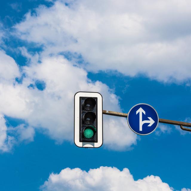 """Traffic light and a surveillance camera"" stock image"