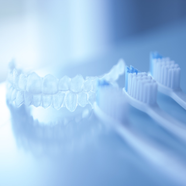 """""""Dental aligners and toothbrush"""" stock image"""