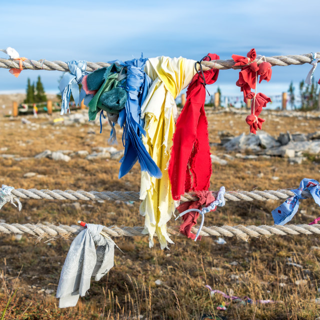 """Colorful cloths at Medicine Wheel"" stock image"