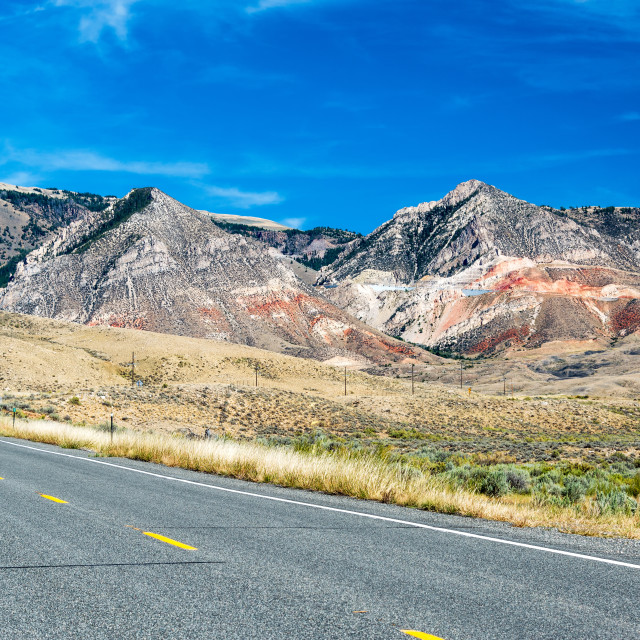 """Highway and Bighorn Mountains"" stock image"