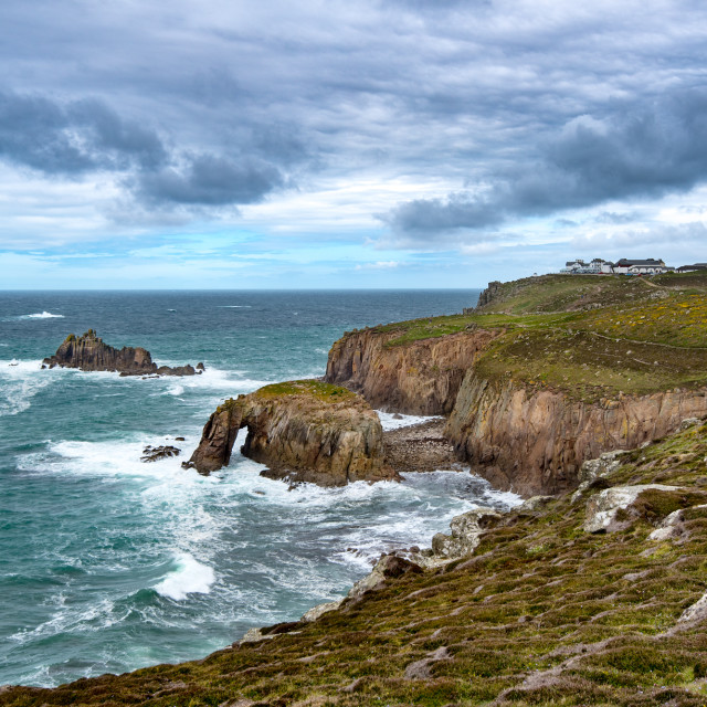 """Enys Dodnan and Lands End"" stock image"
