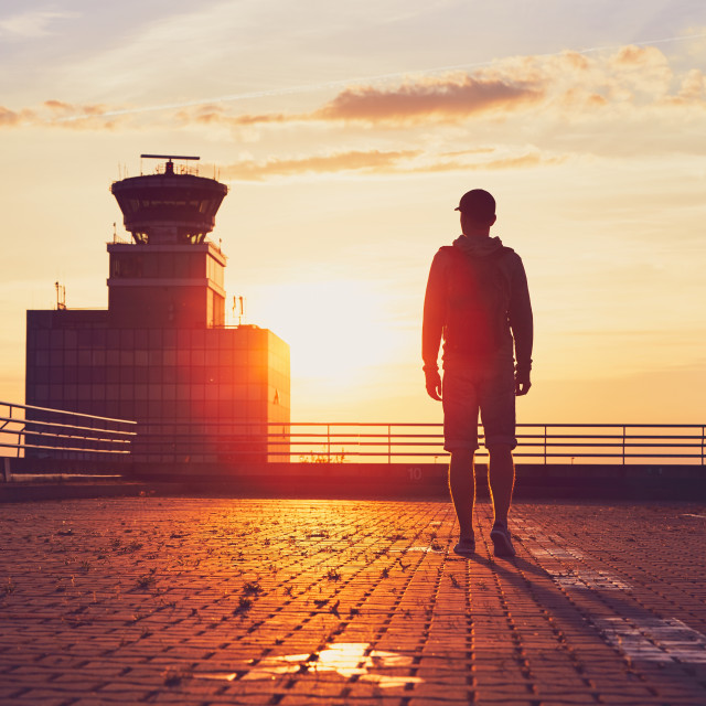 """Traveler at the airport."" stock image"