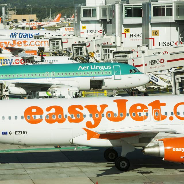 """Planes at Gatwick Airport, London, UK."" stock image"