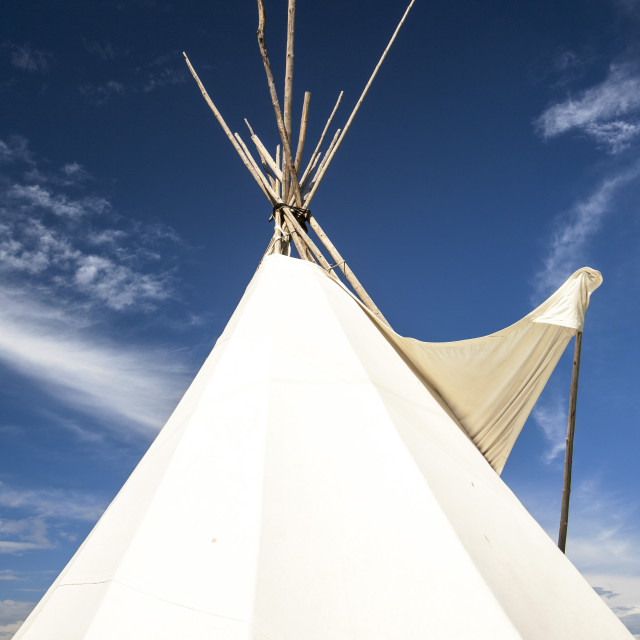 """An old preserved First Nation wigwam in the museum in Fort McMurray,..."" stock image"