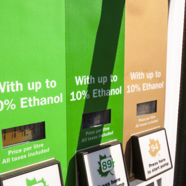 """""""A petrol station in Alberta, Canada with 10% ethanol added to the fuel."""" stock image"""