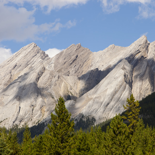 """""""Inclined bedding planes in limestone on peaks above Johnsons Canyon in the..."""" stock image"""