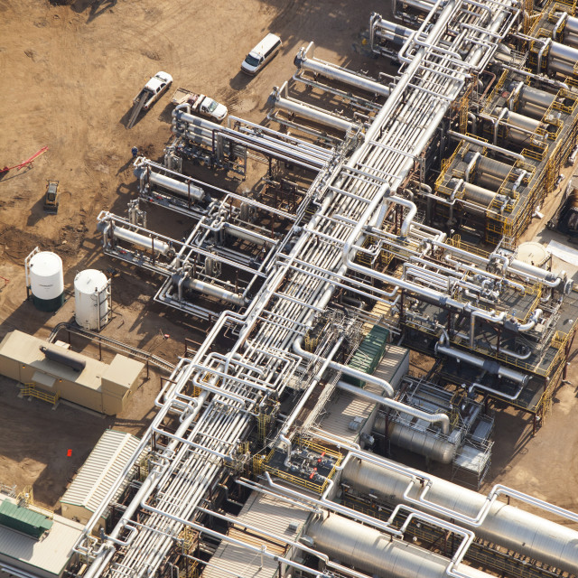"""""""A SAG D (Steam assisted Gravity Drainage) tar sands plant north of Fort..."""" stock image"""
