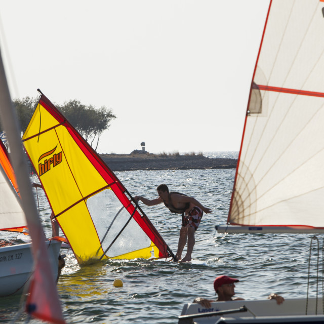 """Learner Windsurfers off Myrina on Lemnos, Greece."" stock image"