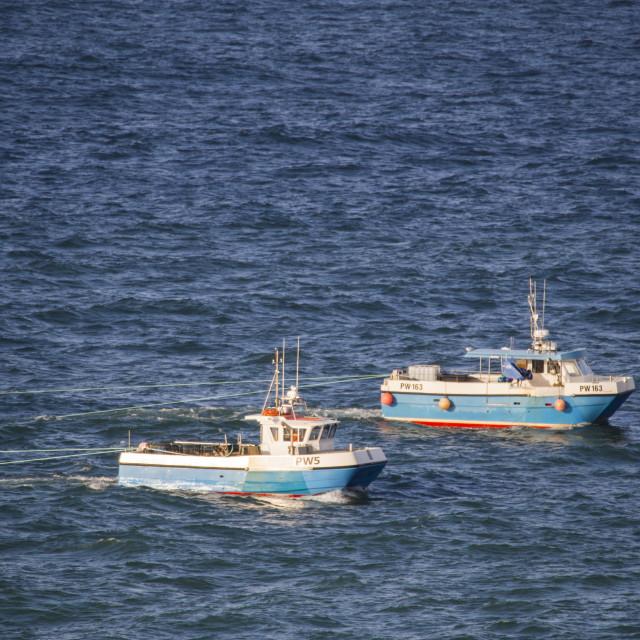 """""""Two fishing boats, pair trawling near Port Isaac, Cornwall, UK."""" stock image"""