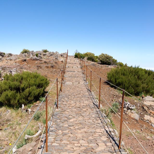 """way to top of pico ruivo, Madeira"" stock image"