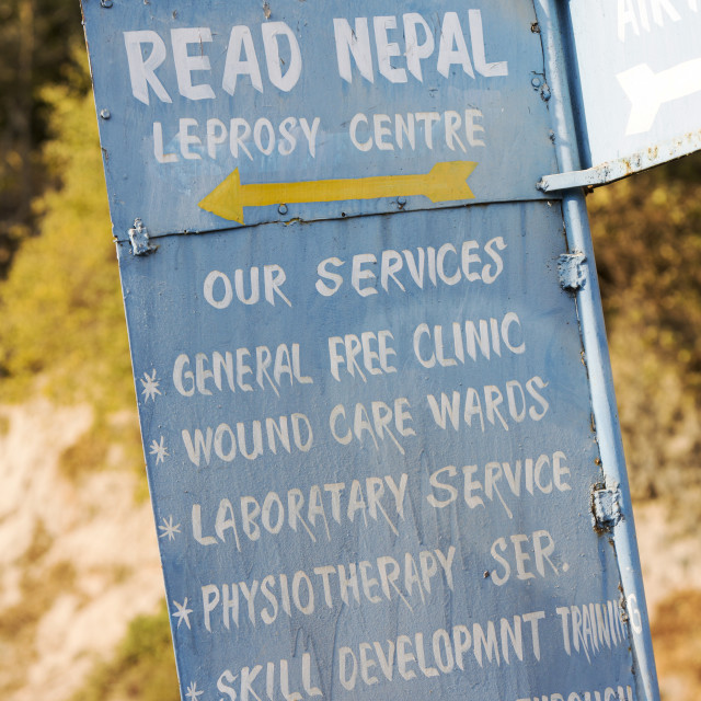 """A sign for a Leprosy service in Kathmandu, Nepal."" stock image"