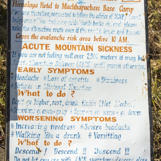 """""""A sign about avalanche risk and Acute mountain sickness in the Annapurna..."""" stock image"""