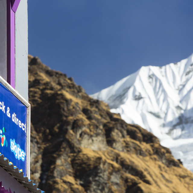 """A tea house lodge on the Annapurna Base Camp trek at Machapuchare Base Camp,..."" stock image"