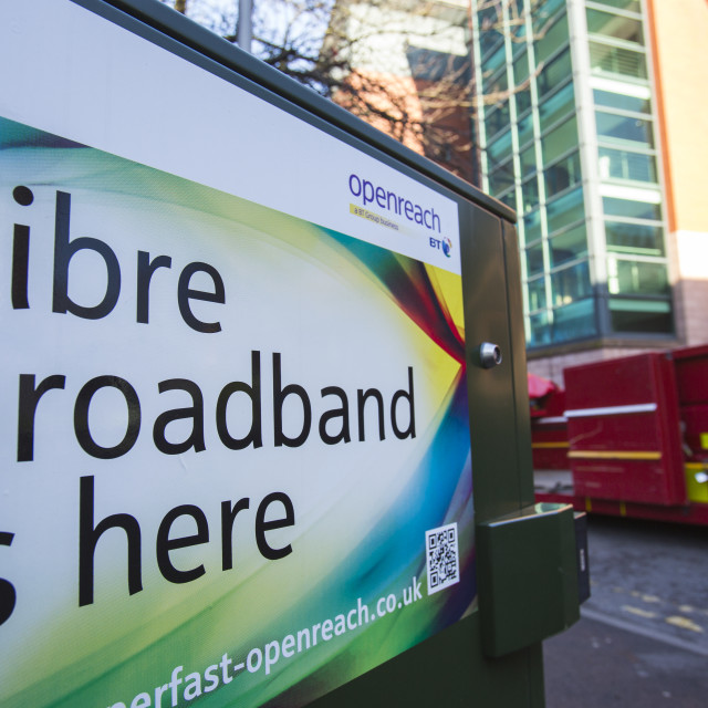 """An advert for fibre optic braodband in preston, Lancashire, UK."" stock image"