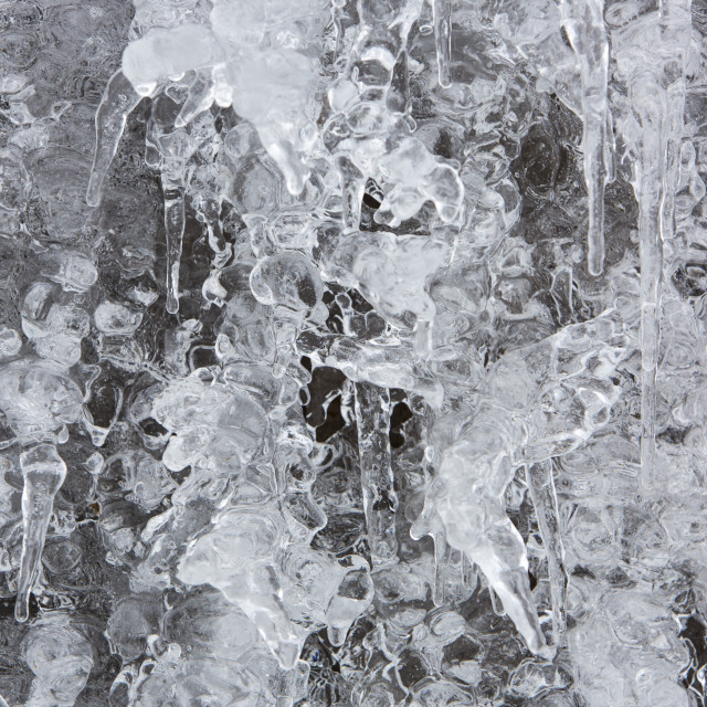 """""""Icicles at the closed Kirkstone slate quarry, Lake District, UK,"""" stock image"""