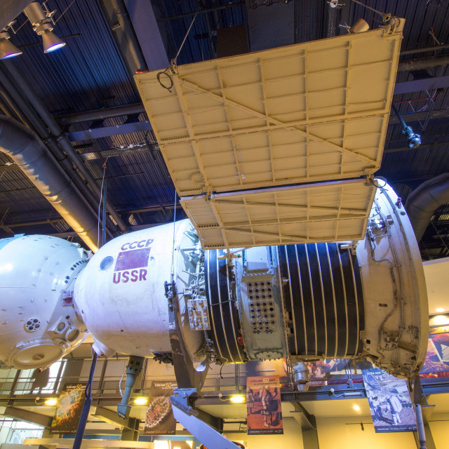 """A 1960's Russian Soyuz space craft at the National Space Centre in Leicester,..."" stock image"