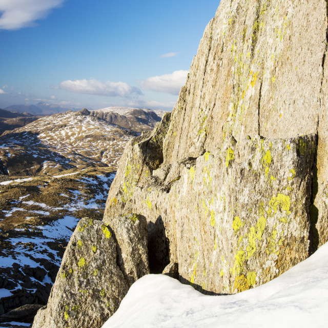 """""""Lichen covered rocks on Great Carrs above Wrynose in the Lake District,..."""" stock image"""