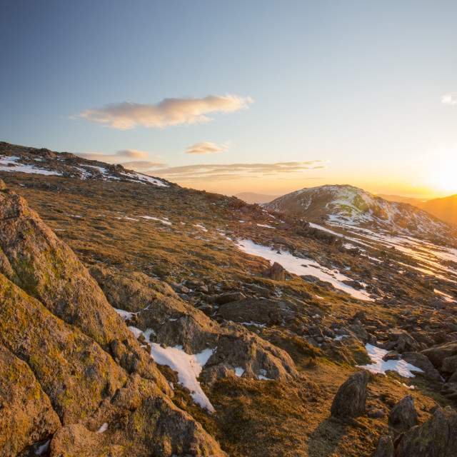 """Sunset over Grey Friar and Harter Fell in the Lake District, UK, from Great..."" stock image"